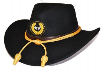 Major General Black Slouch Hat Gold Cord & Badge